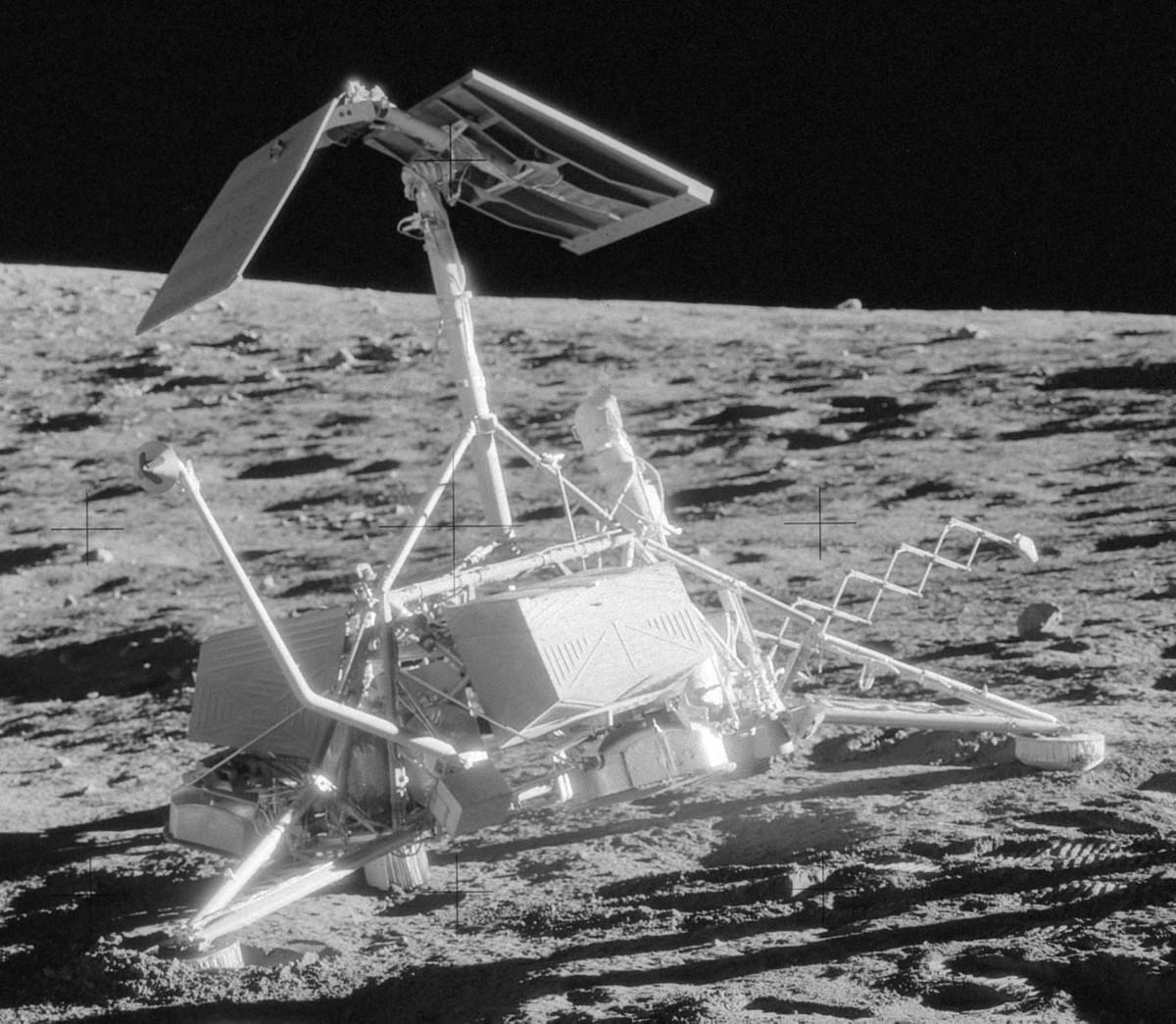 Surveyor 3 on the Moon photographed during a visit by Apollo 12 astronauts.