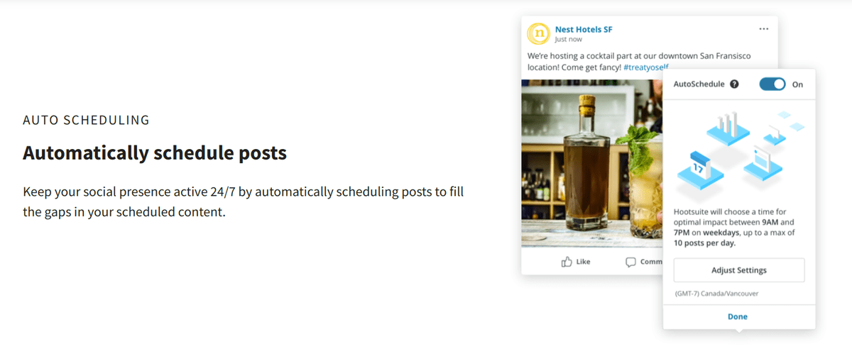 hootsuite scheduling social media post feature