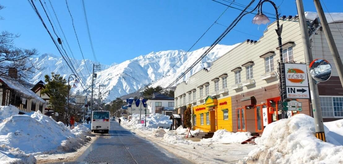 As you enter Echoland's Main Street - there are many accommodation options in Echoland like Hakuba White Fox Chalets