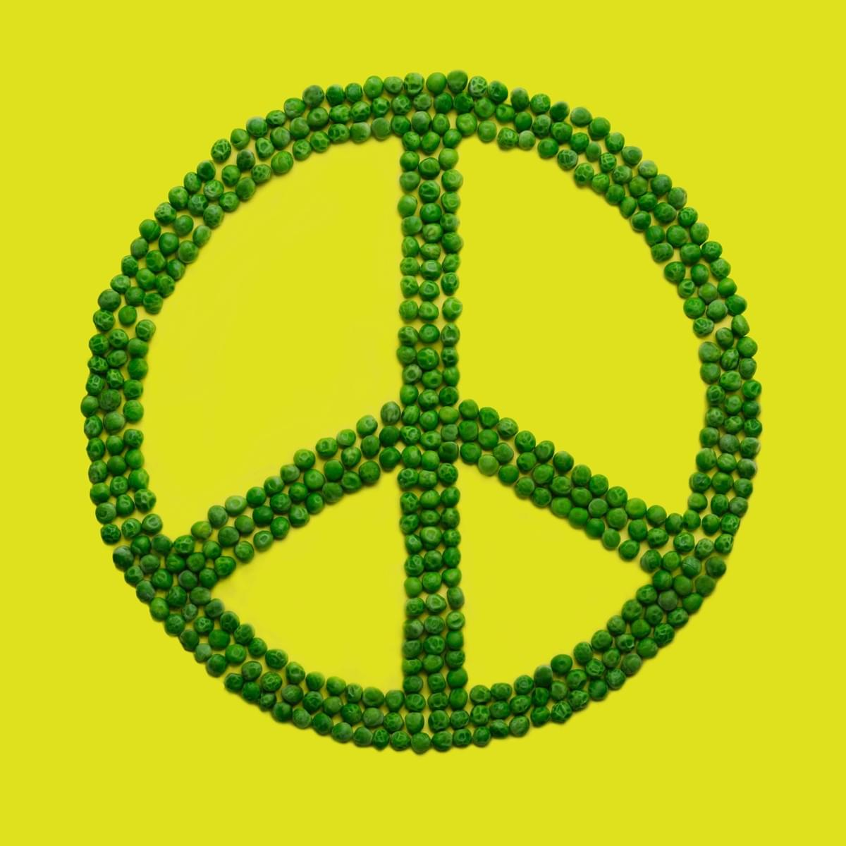 Peace sign made out of green peas- The Purple Dog Vegan special announcement post about the release of Give Peas a Chance, the first cookbook from The Purple Dog Vegan