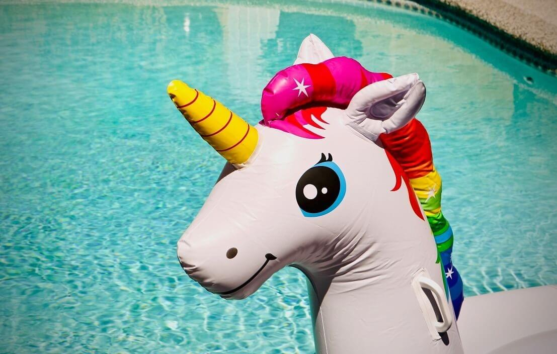 "A photo of a unicorn pool float as featured in ""Time Management is a Mythical Creature,"" a Purple Dog Blog post by The Purple Dog Vegan"