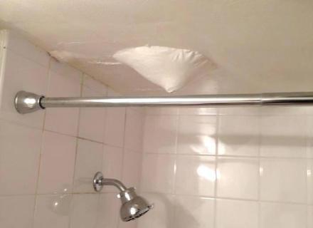 Upstairs Bathroom Flooded Leaking Through Ceiling