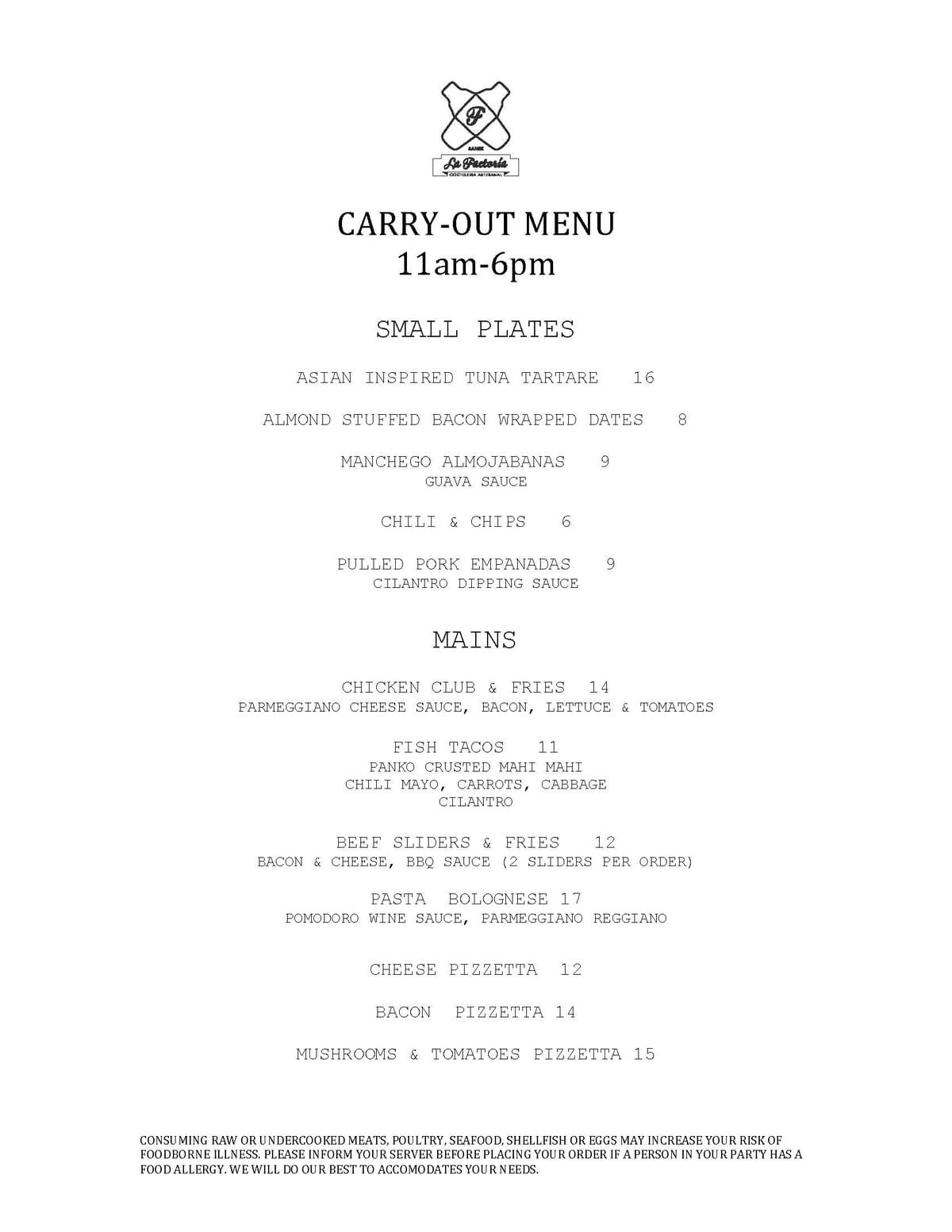 Carry-Out Menu