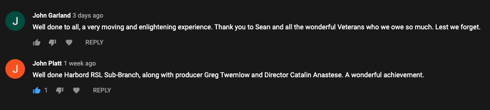 viewer comments about Saluting Their Service movie filmed by SEVENmile Venture Lab