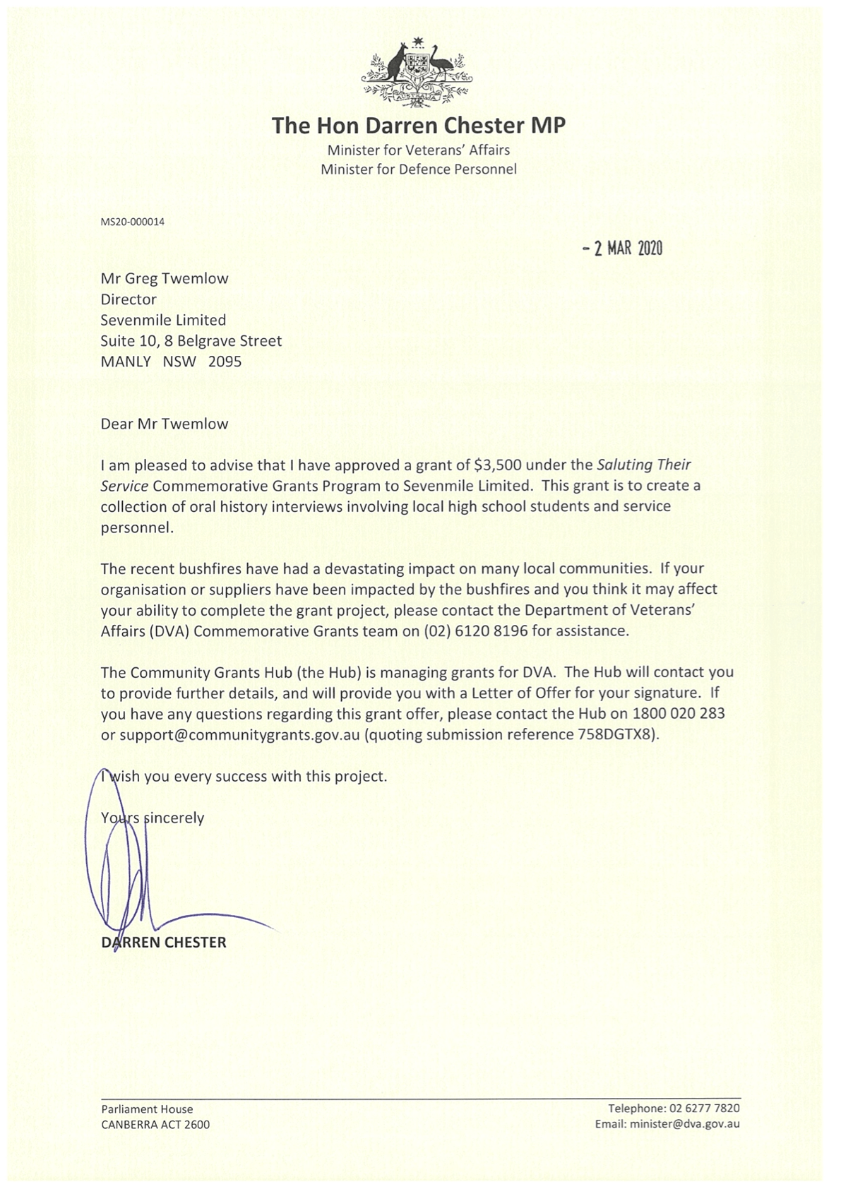 letter from The Hon Darren Chester, Minister for Veterans Affairs confirming the awarding of a grant to SEVENmile Venture Lab