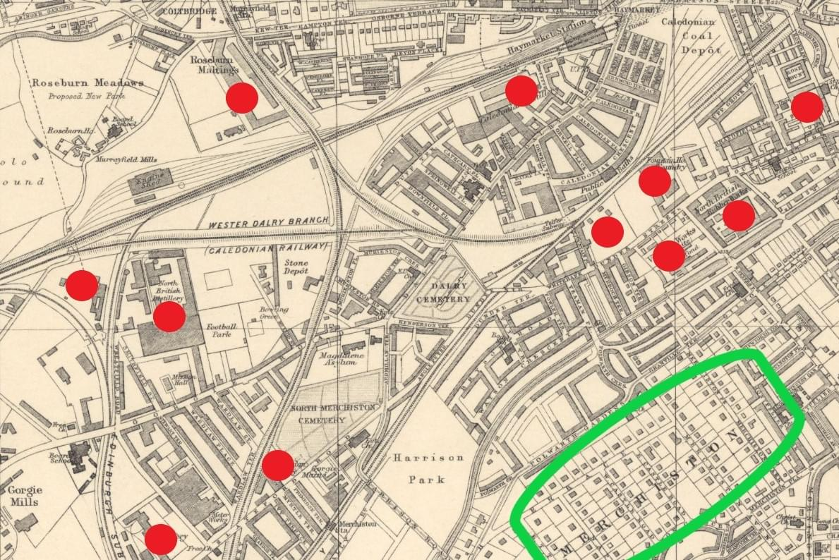 Bartholomews map of Edinburgh from 1901 showing high density tenements around factories and breweries.