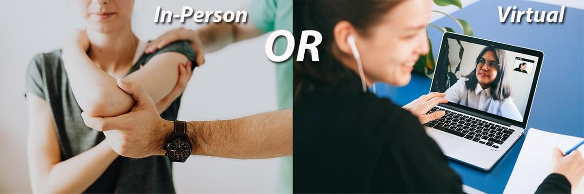 Images associated with in-person physical therapy and online physical therapy. The pros and cons of both.