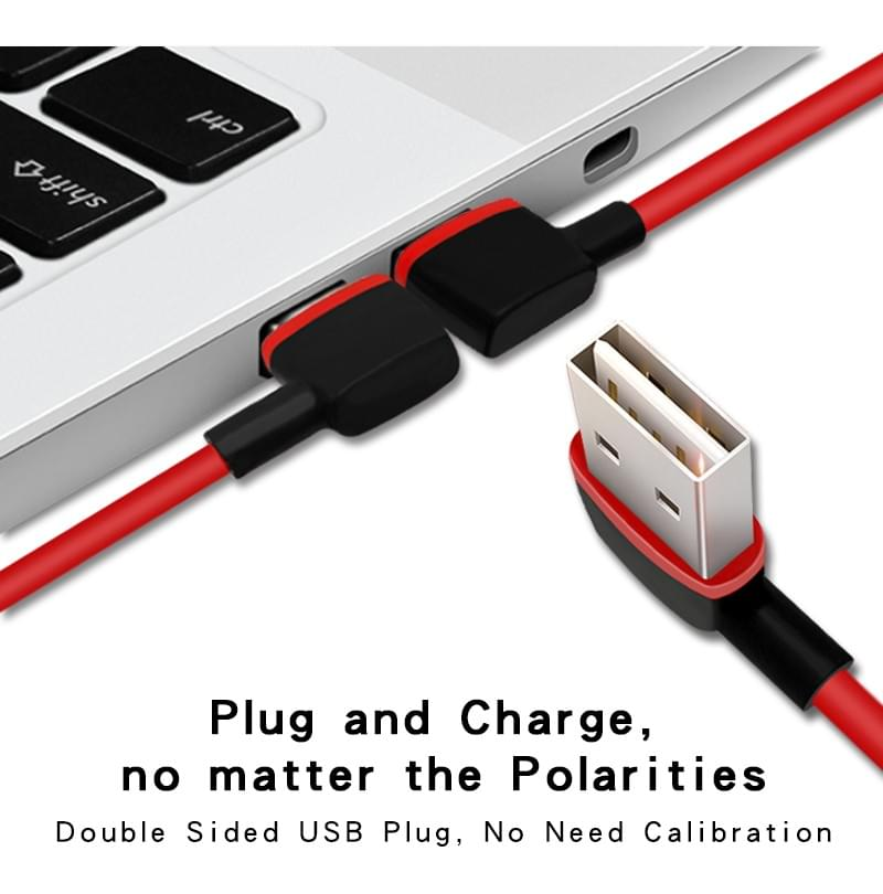 Reversible USB A connector to Type C 2.0 Data Cable