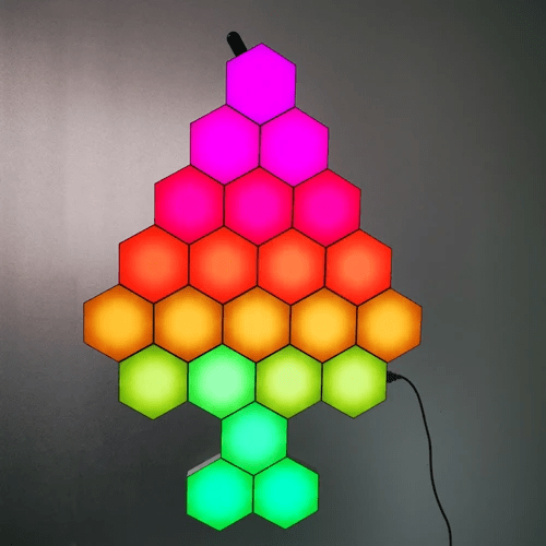 Christmas tree made of hexagon lights