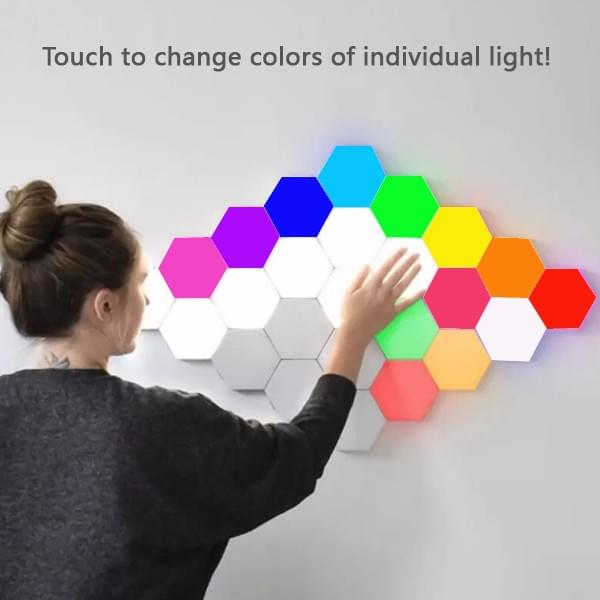 Touch to change the colors of the hexagon lights individually!