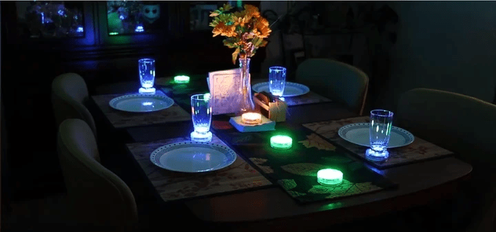 remote controlled disc light coasters