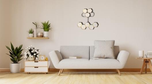 remote hexagon lights on wall