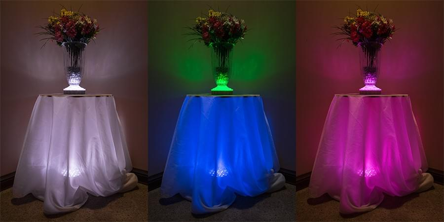 led lights for table cloth lighting and centerpieces