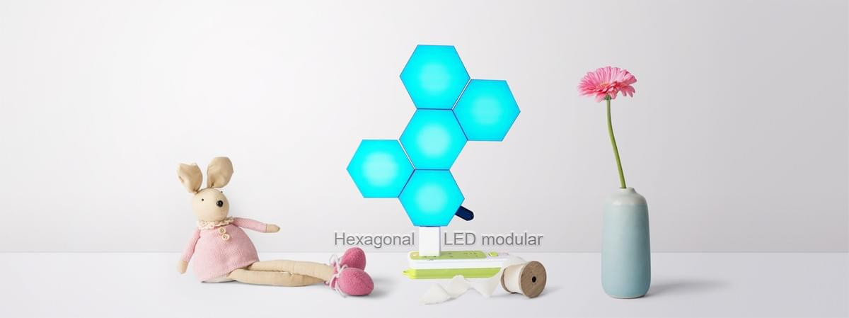 RF remote controlled hexagon table lamp