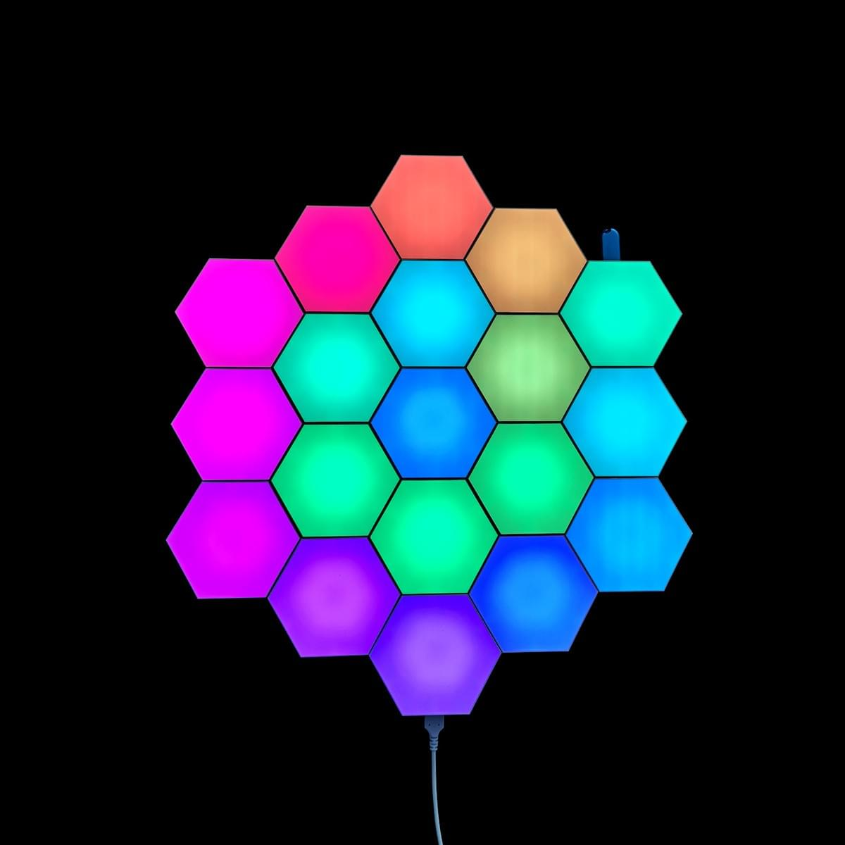 Programmed hexagon Christmas tree lights
