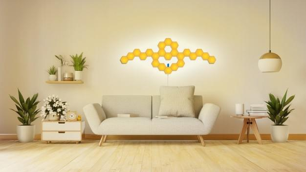 RF remote controlled hexagon wall lights