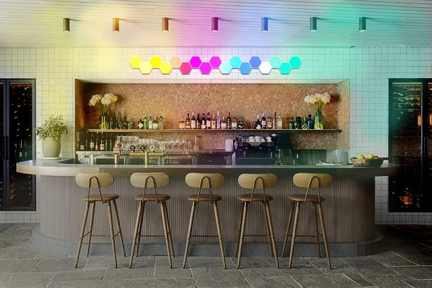 remote hexagon lights in bars