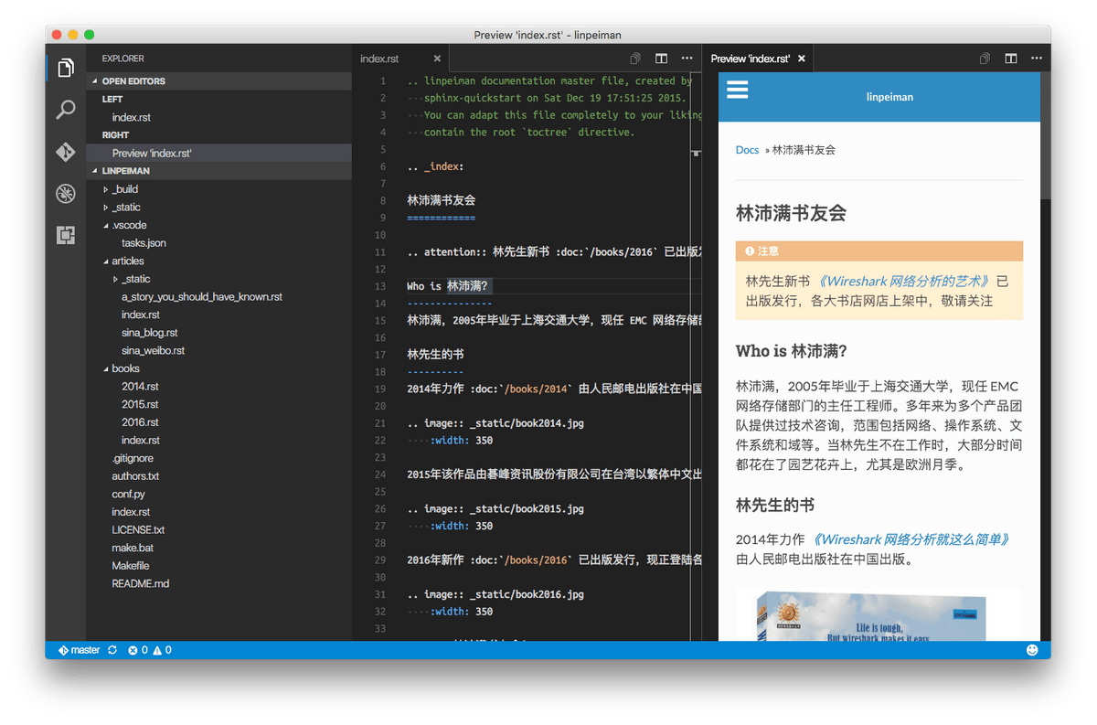 reStructuredText Extension for Visual Studio Code on Strikingly