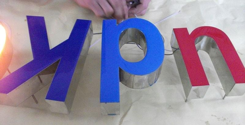 Varisigns Epoxy Resin Letters with purple, blue, red color in production