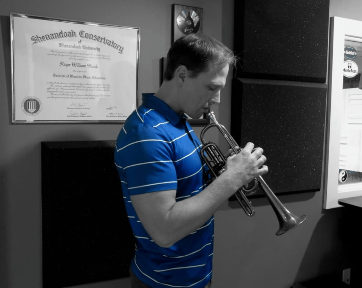 This is Métier Mastering's owner and operator Will Shenk, playing a Bb / A cornet.