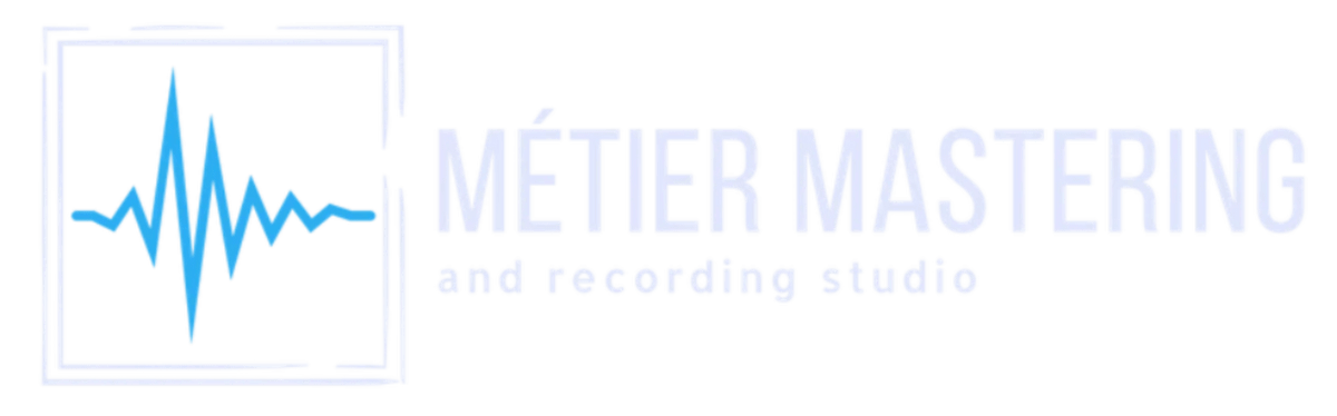 This is the Métier Mastering logo, which includes a blue simulated audio wave form