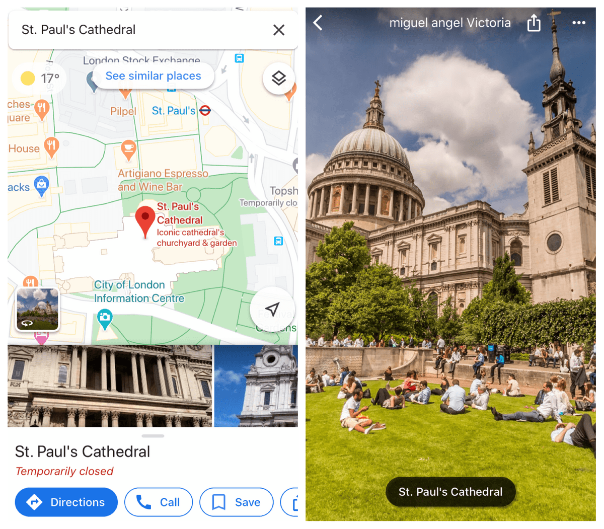 The example of how to use the panorama view in Google maps from the phone
