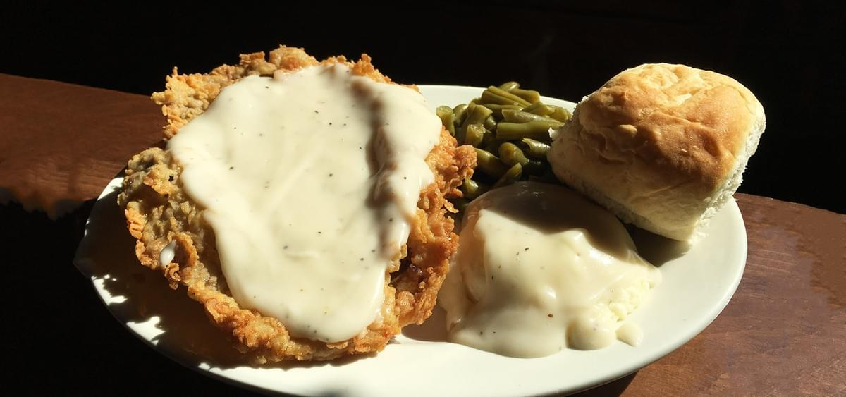 theBarn's Famous Chicken Fried Steak with Mashed Potatoes and Gravy