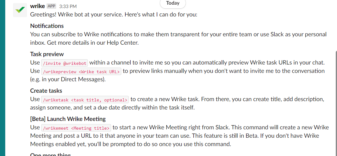 function you can use on slack for wrike