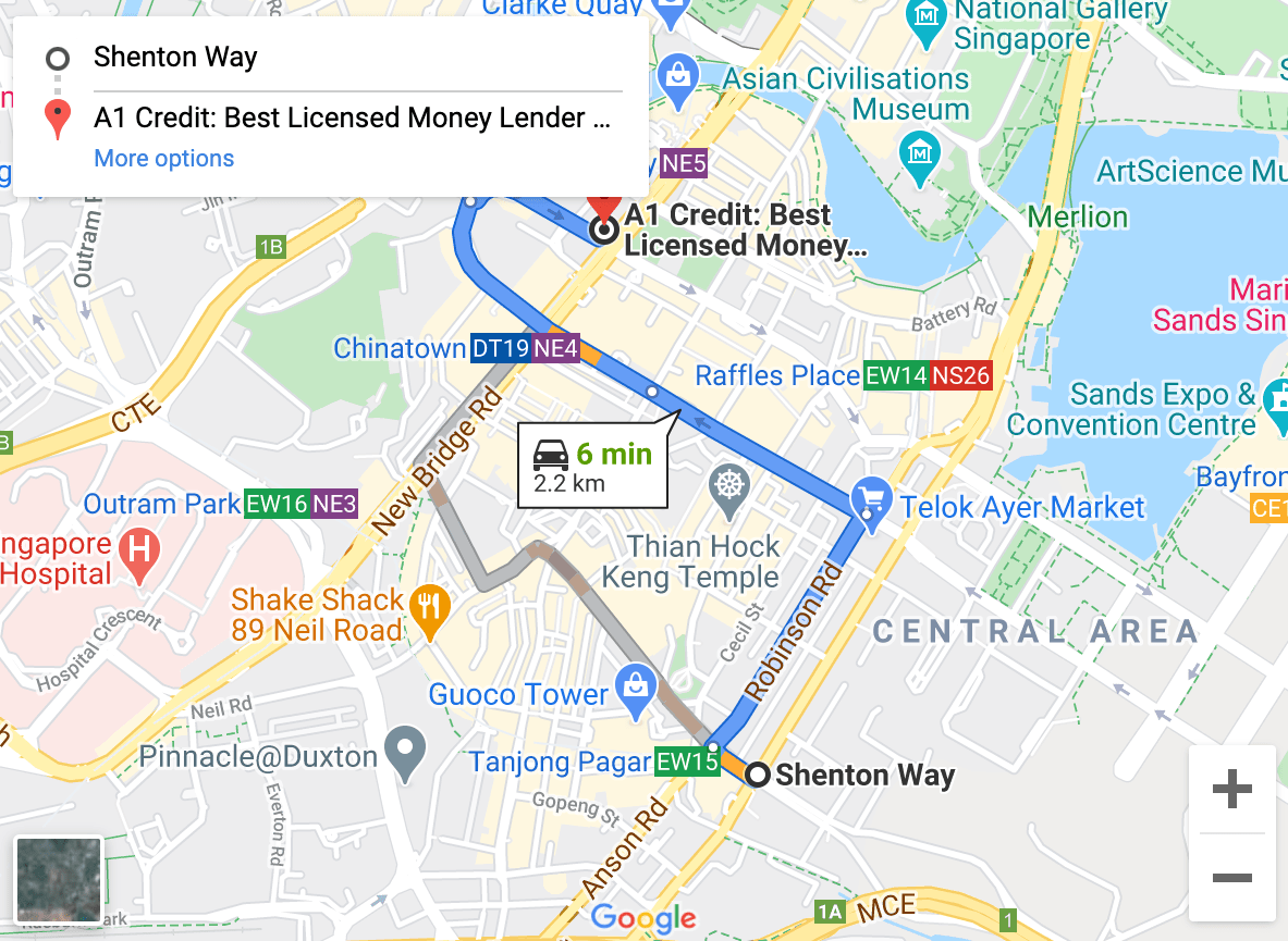 Directions from Shenton Way to A1 Credit
