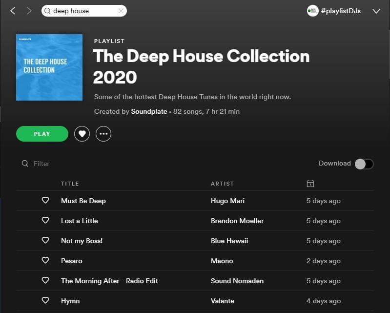 Soundplate Spotify Deep House Playlist