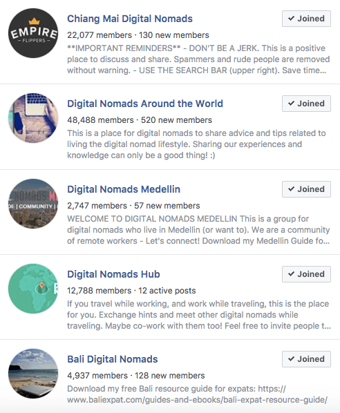 Digital Nomad Groups on Facebook