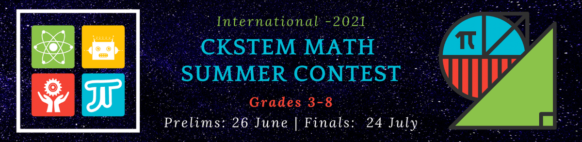 The competitive Kids STEM welcomes you to the International CKSTEM Math Summer Contest (CMSC). Our primary goal is to help the students learn techniques that may help them succeed in math competitions and beyond. We have put together a set of brain fertilizers for you to gain speed. You can do unlimited practice from a set of over 20,000 questions.