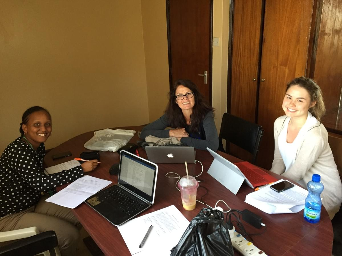 From left to right: Ruth Ruhara, Dr. Regina Casey and daughter Niamh gathered after a conference call to the rest of the CREATE team back in Canada.