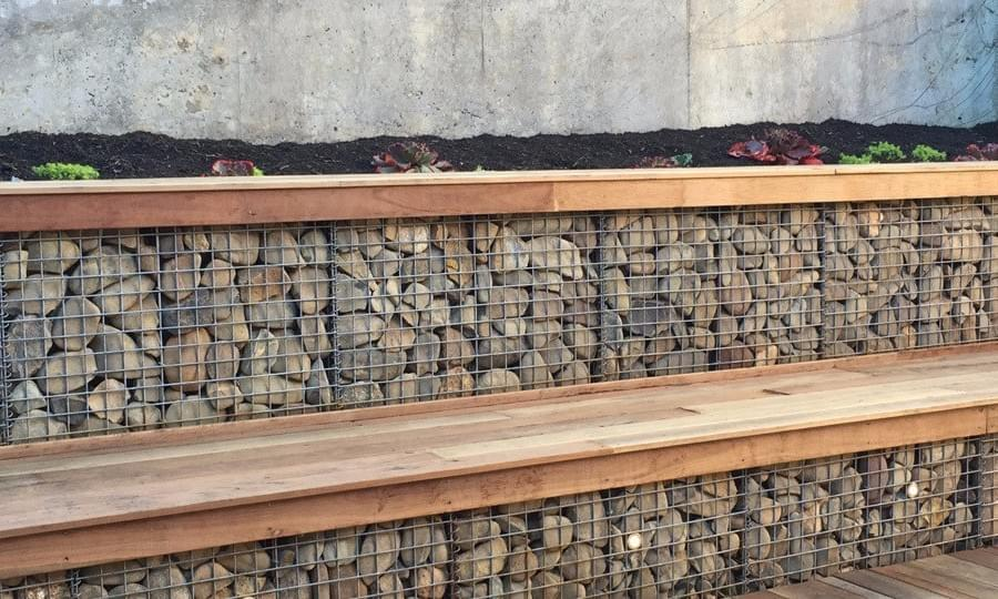 stepped gabion rock wall