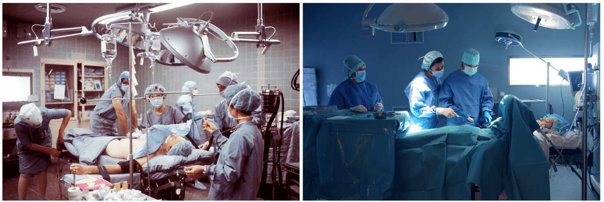 An operation theatre sixty years ago compared to today. Medical standards have changed immensley and new innovations have extended human life even further.