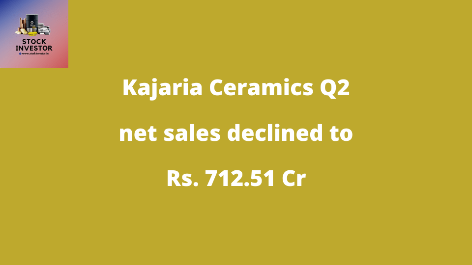 Kajaria Ceramics Q2 net sales declined to Rs. 712.51 Cr