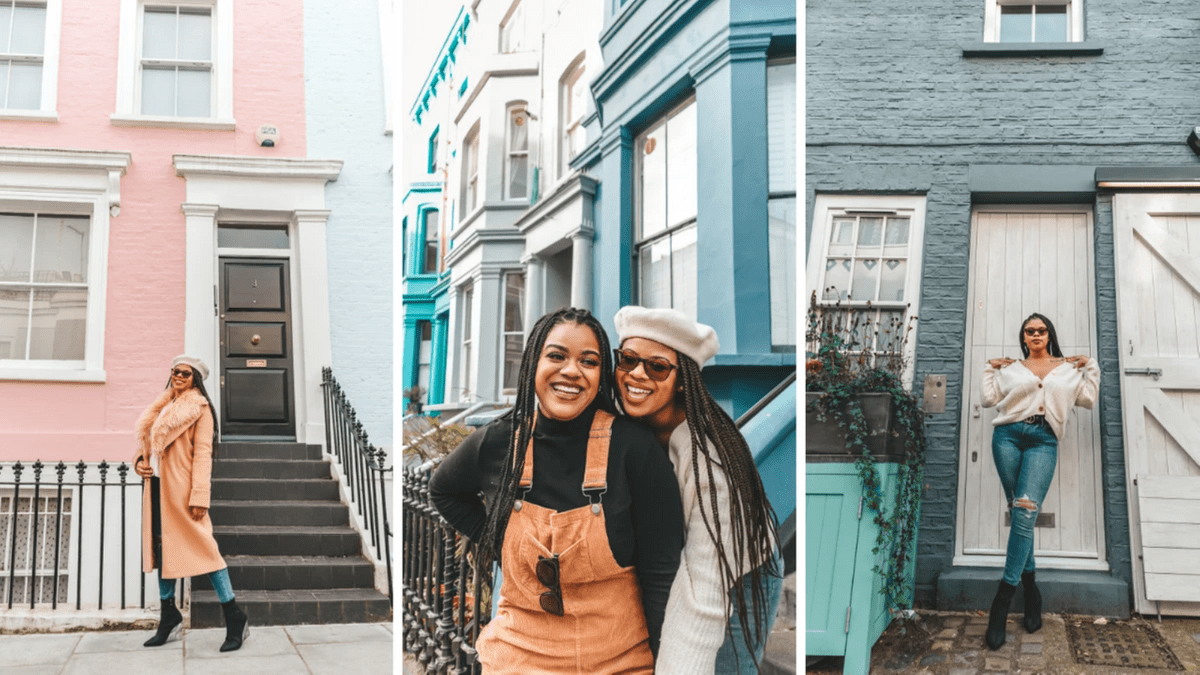 airbnb experience, photowalking tour, nottinghill, london, london photoshoot, sister photoshoot, black sisters travel, raqhtheworld