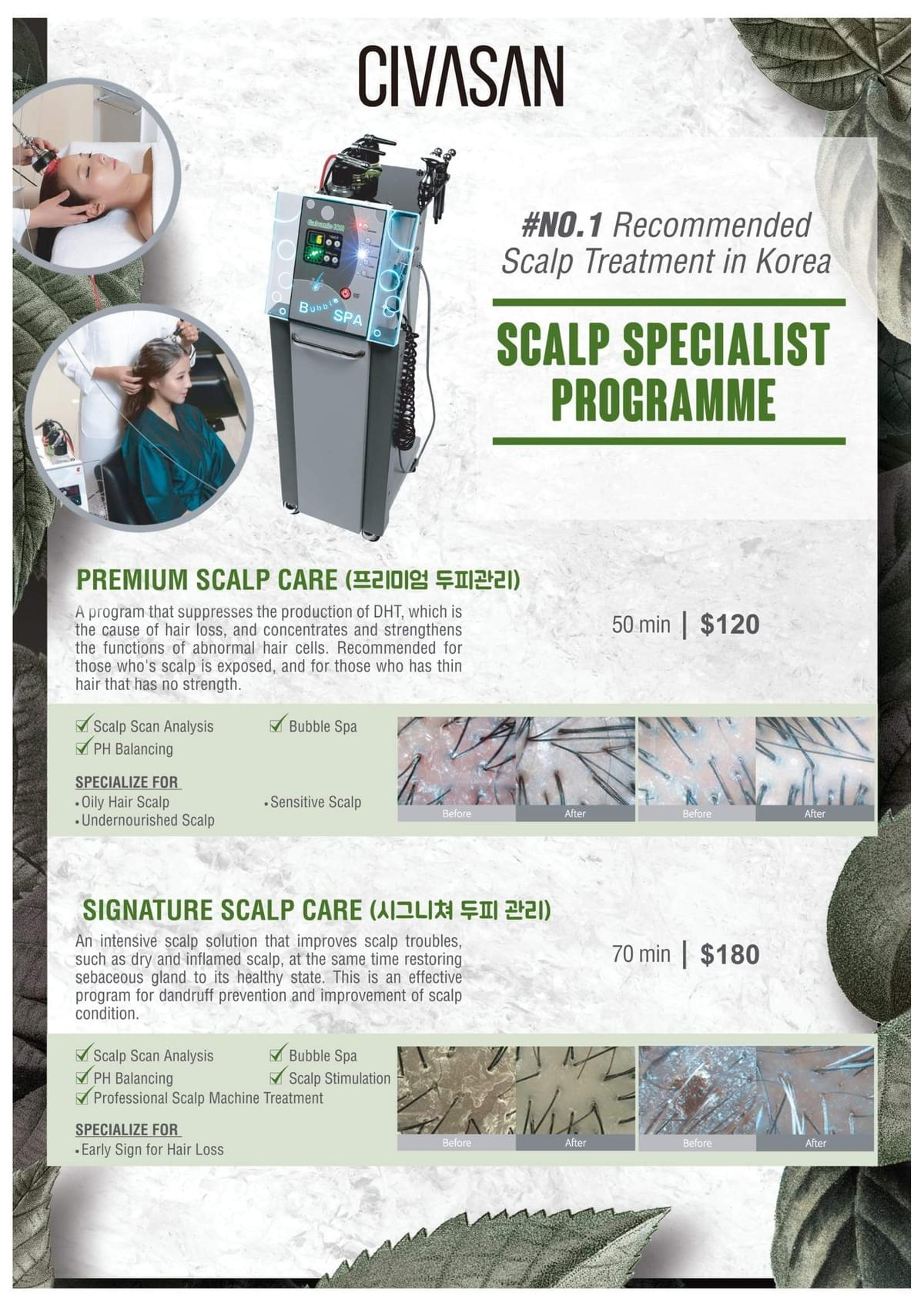 Pricing for hair and scalp treatment varies by hair needs and wants at Walking On Sunshine Korean Salon Singapore