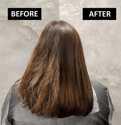 Before and After Cinderella Hair Treatment from Walking on Sunshine Hair Salon Singapore