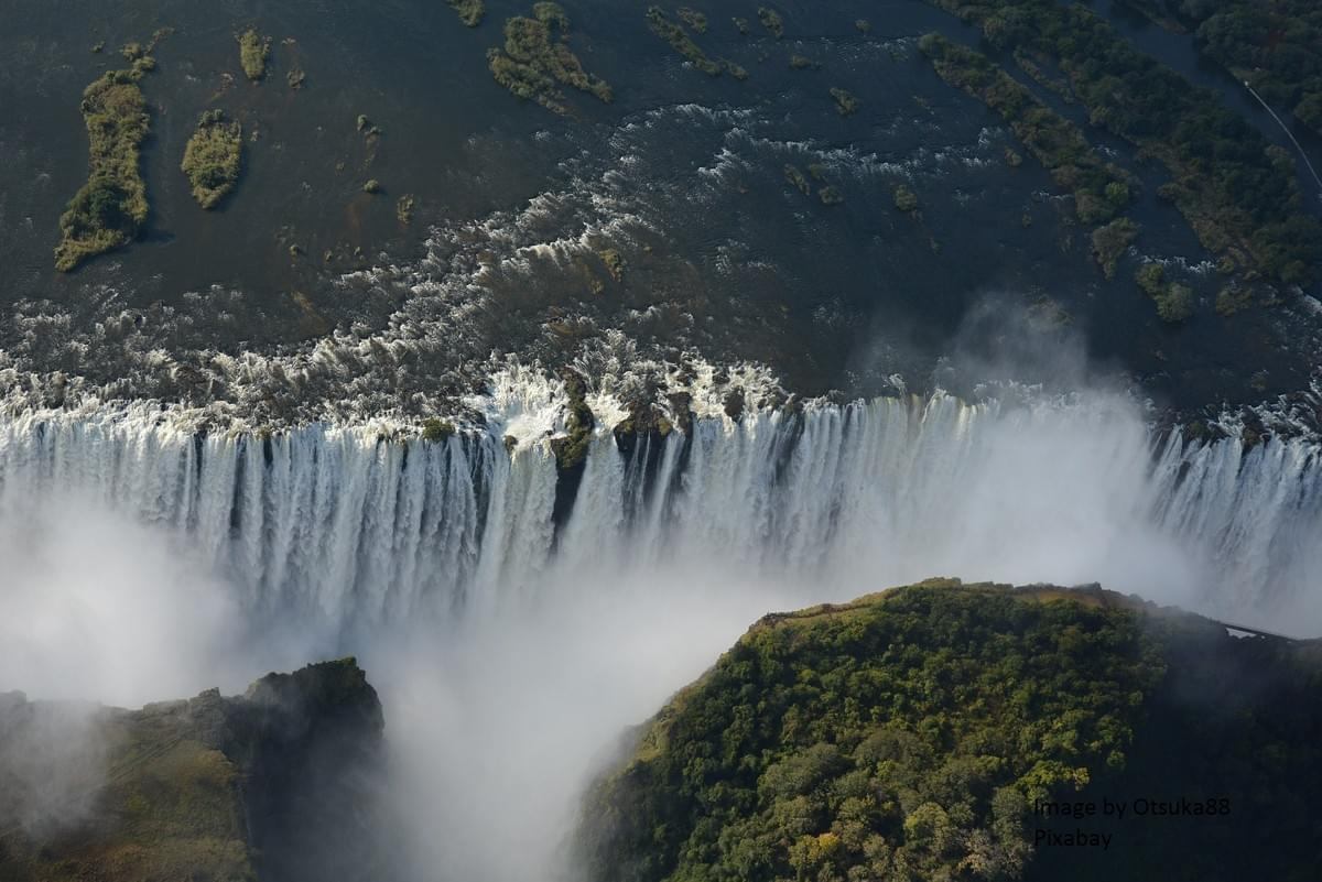 Aerial view of the Victoria Falls. Image by otsuka88 from Pixabay