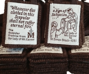 Sturdy Traditional Brown Scapular of Our Lady of Mt Carmel