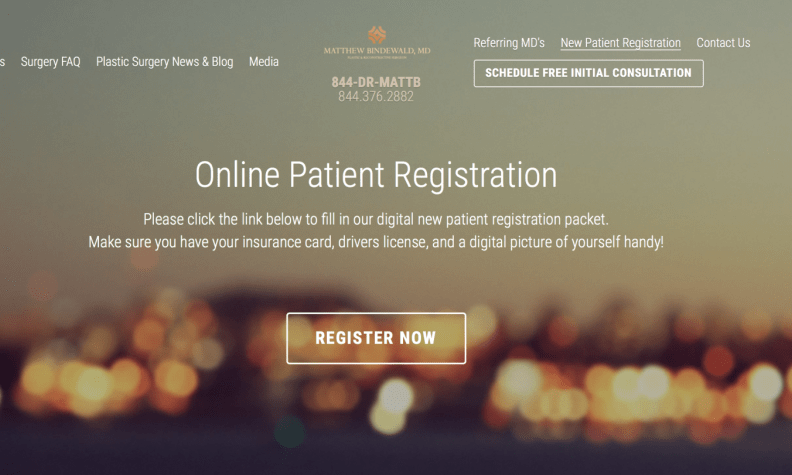 HIPAA-compliant digital online patient registration