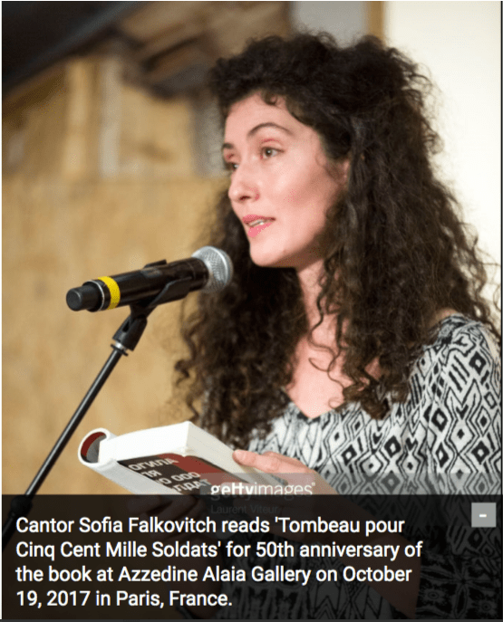 Cantor Sofia Falkovitch reads 'Tombeau pour Cinq Cent Mille Soldats' for 50th anniversary of the book at Azzedine Alaia Gallery on October 19, 2017 in Paris, France.