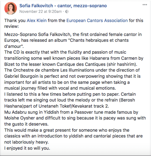 Sofia Falkovitch, European Cantors Association Review