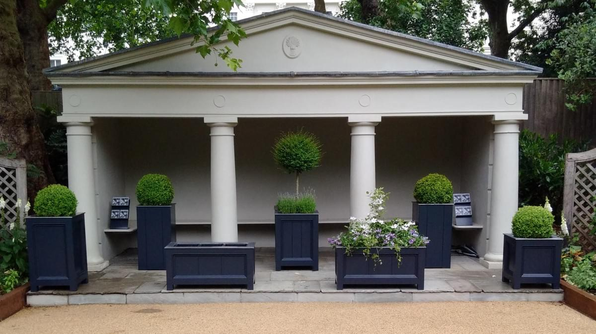 Squareroot Planters' pop up display  Open Gardens 2015 Belgrave Square SW1