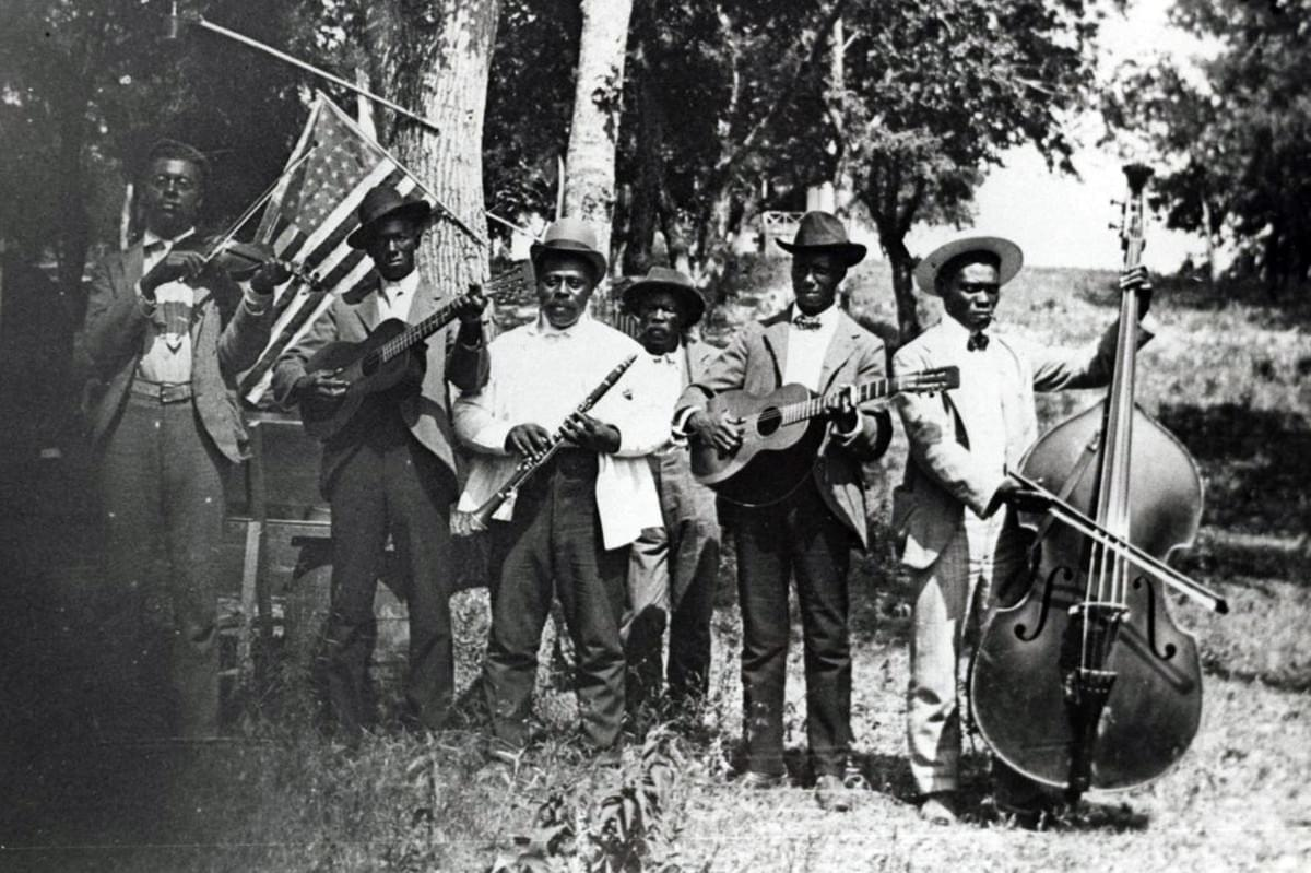 An African American band at an Emancipation Day celebration in Austin in 1900.Austin History Center