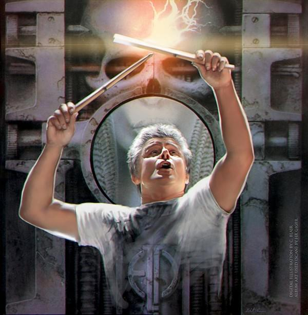 digital painting of Carl Palmer: work in progress
