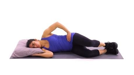 Medbridge description: Engage your abdominals and raise your top knee up toward the ceiling, then slowly return to the starting position and repeat. Tip Make sure to keep your core engaged and do not roll your hips forward or backward during the exercise.