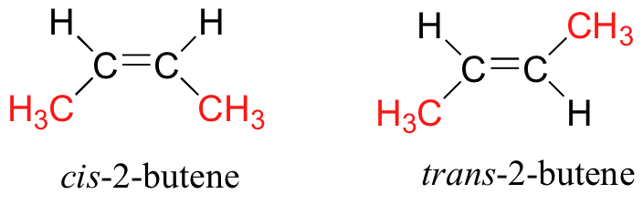 cis and trans isomer of but-2-ene