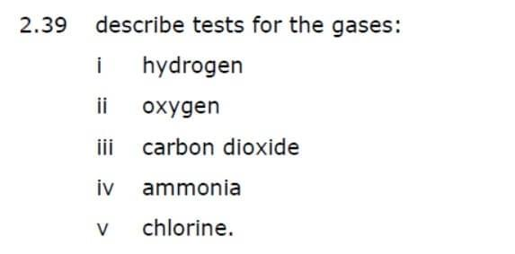 Chemical Tests, Gases, Chemistry, tuttee, dse, gce, ib, igcse,ap
